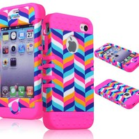 Bastex High Impact Hybrid Case for Apple iPhone 4, 4s - Pink Silicone with Hard Chevron Fishtail Design