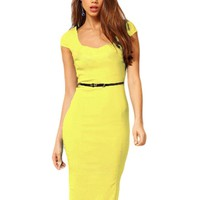 Kattee Office Lady Square Neck Cap Sleeve Career Vintage Bodycon Dress