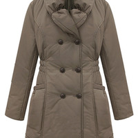 ROMWE | ROMWE Double-breasted Lapel Brown Down Coat, The Latest Street Fashion