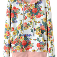 ROMWE | ROMWE Floral Print Hooded Drawstrings White Hoodie, The Latest Street Fashion