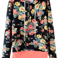 ROMWE | ROMWE Floral Print Hooded Drawstrings Black Hoodie, The Latest Street Fashion