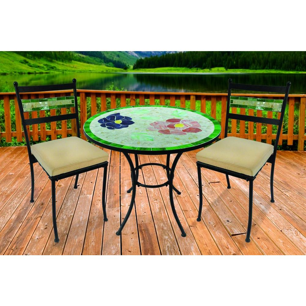 brown 3 piece garden blossom mosaic patio from home depot. Black Bedroom Furniture Sets. Home Design Ideas