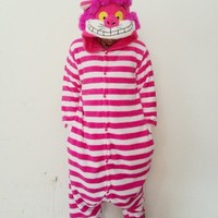 New Winter Adult Cartoon Sleepwear Cute Onesuits Animal Piece Pajamas Pink Cheshire Cat Sleepwear With Hat (M)