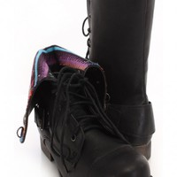Black Faux Leather Printed Cuffed Boots