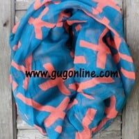Turquoise with Coral Crosses Infinity Scarf