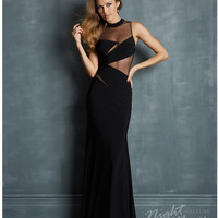 (PRE-ORDER) Night Moves by Allure 2014 Prom: Black Jersey & Illusion Keyhole Prom Dress