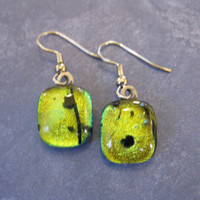 Gold Dichroic Fused Glass Earrings, Yellow Drop Earrings - Golden Ticket - 1168 -3