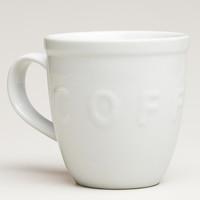 WHITE EMBOSSED COFFEE MUGS, SET OF 2