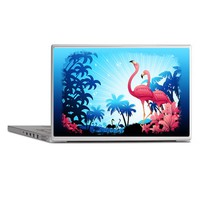 Pink Flamingos on Blue Tropical Landscape Laptop S