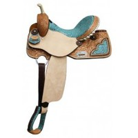 "14 inch barrel saddle, barrel saddles 14"", saddles with filligree print"
