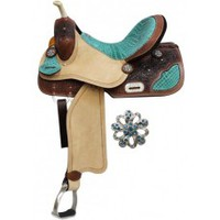 15 inch Double T Barrel Style Saddle with Teal Alligator Print Accents