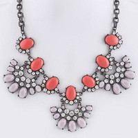 Colors & Crystals Gunmetal Fan Necklace - Coral/Peach | .H.C.B.