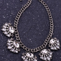 Crystal Fan Necklace - Gunmetal | .H.C.B.