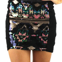 Sequin Front Bodycon Skirt - Black/Multi | .H.C.B.