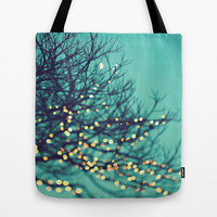 twinkle lights Tote Bag by Sylvia Cook Photography