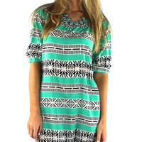 Graphic Stripes Tunic Dress - Mint/Navy/White | .H.C.B.