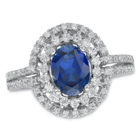 Oval Lab-Created Blue Sapphire and White Sapphire Frame Ring in Sterling Silver