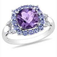 8.0mm Cushion-Cut Amethyst, Tanzanite and Diamond Accent Ring in Sterling Silver