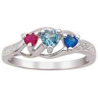 Daughter's Heart-Shaped Simulated Birthstone and Diamond Accent Ring in Sterling Silver (3 Stones)