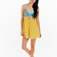 Neon Yellow Multi Color Bodice Playsuit