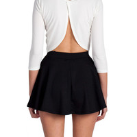 Open A-Back Long Sleeve Crop Top - Ivory
