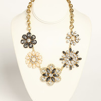 RHINESTONE AND PEARL FLOWER NECKLACE