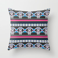 Day of the Dead Skull Stripe Throw Pillow by markmurphycreative