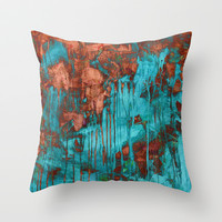 rusty teal Throw Pillow by Iris Lehnhardt