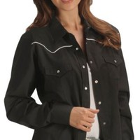 Ely Solid Black with White Piping Western Shirt - Sheplers