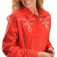Wrangler Red Embroidered & Embellished Yokes Western Shirt - Sheplers