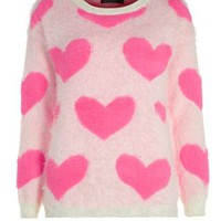 Cream and Neon Pink Heart Print Jumper