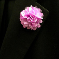 Purple Satin & Mesh Lapel Flower, Mens Lapel Flower, Mens Lapel Pin,Mens Boutonniere, Wedding Boutonniere, Wedding Lapel Pin