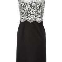 Valentino - Lace Bodice Sheath in Black and Ivory
