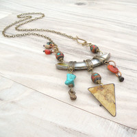 Tribal Assemblage Necklace, Asymmetrical, Bohemian, Statement Necklace