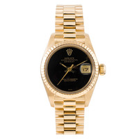 Rolex Lady's Yellow Gold Datejust Wristwatch with Onyx Dial Ref 6917 1970s