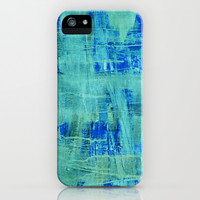 abstract blue & green iPhone & iPod Case by Iris Lehnhardt