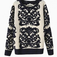 White & Black Floral Embroidered Sweater