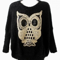 Black Owl Knit Sweater with Sequin Detail