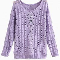 Purple Light Knit Cutout Sweater