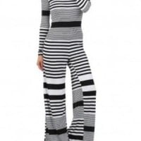 Black & White Stripe Cutout Back Long Sleeve Jumpsuit