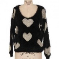 Black Heart Print Sweater