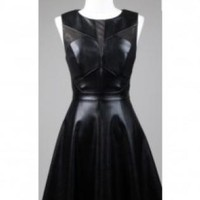 Black Faux Leather Cap Sleeve Skater Dress
