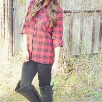 Pretty In Plaid Top: Red/Black