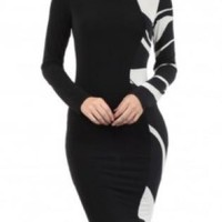 Black & White Print Contrast Long Sleeve Midi Dress