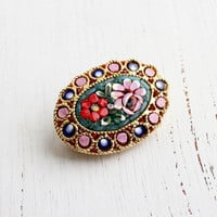 Vintage Micro Mosaic Flower Brooch Pin - Red & Pink Rose Floral Costume Jewelry / Italian Glass Art