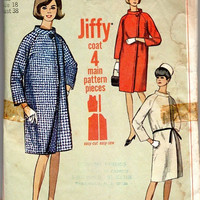 Retro Mod Simplicity 1960s Sewing Pattern 6311 Easy to Sew Coat Mandarin Collar Off Side Closing Raglan Sleeves Mad Men Style Bust 38