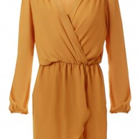 Gold Wrap Long Sleeve Dress