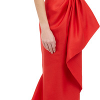 Asymmetric Twist Front Strapless Gown