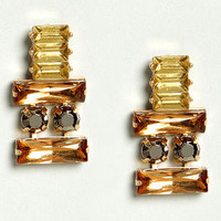 Thrilled To Be Ear Orange Rhinestone Earrings
