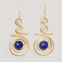 NOVICA FOLLOW THE DREAM LAPIS LAZULI DANGLE-EARRINGS
